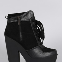 Zipper Lace Up Lug Sole Platform Heeled Combat Ankle Boots