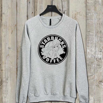 Starbuck Ariel Little Mermaid logo Music tee Ash Grey  Long Sleeve Crew Neck Pullover Sweatshirt