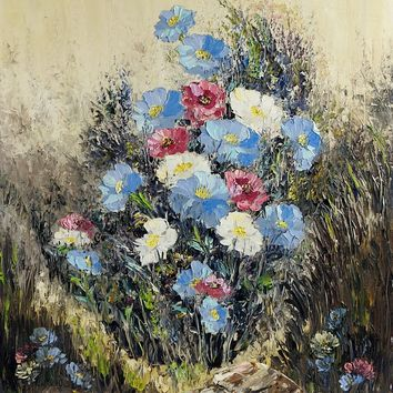 Modernist Wildflower Study Painting