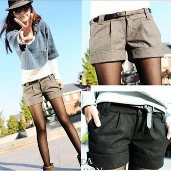 VONEGQ 2015 autumn and winter women's turn-up straight woolen bootcut short pants plus large big size casual shorts black grey