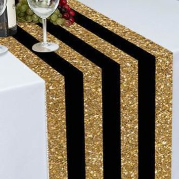 BLACK AND GOLD STRIPES PRINTED CLOTH TABLE RUNNER 16x9 - LCPTR122 - LAST CALL