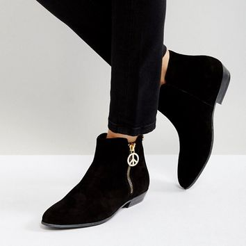 Love Moschino Side Zip Flat Boots at asos.com