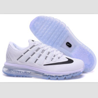 """NIKE"" Trending AirMax Toe Cap hook section knited Fashion Casual Sports Shoes sapphire White black hook(transparent soles)"