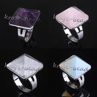 Silver Plated Natural Amethyst Rose Quartz Stone Pyramid Adjustable Finger Rings