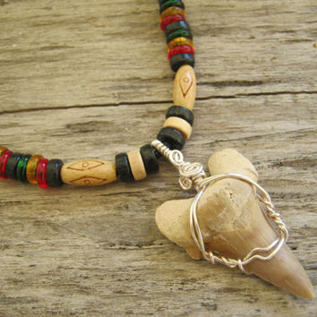 Fossilized Shark Tooth Necklace, Rasta Surfer Necklace, Fossil Pendant, Eco Friendly, Womens Mens Necklace, Adjustable Tribal, READY To SHIP