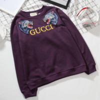 ''GUCCI'' Women Men Thick Wolf Embroidery Round neck letters long sleeve sweater sweatshirts Black