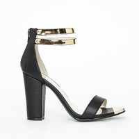 Missguided - Samantha Block Heeled Sandals Black Croc