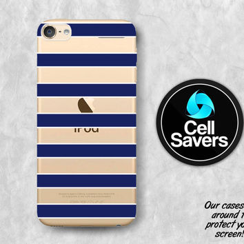 Navy Stripes Clear iPod 5 Case iPod 6 Case iPod 5th Generation iPod 6th Generation Rubber Case Gen Clear Case Blue White Sailor Pattern Cute