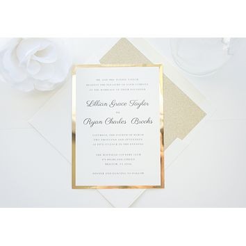 Classic Gold Glitter Wedding Invitation, Gold Glitter Wedding Invitation, Gold Wedding Invites - DEPOSIT