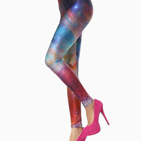 Leggings In Colorful Galaxy Print