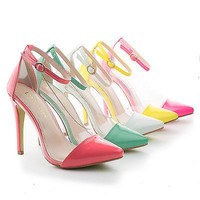Olga1A By Liliana, Pointy Toe Lucite Clear Ankle Strap Stiletto Pumps