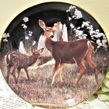 Deer Doe Fawn Plate Limited Edition by Bob Travers Collector Porcelain Fine China blm