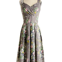 ModCloth Long Sleeveless A-line Still Life in Motion Dress in Floral