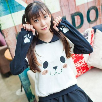 Sailor Collar Anime Pullover Women Kawaii Cute Hoodies Harajuku Panda Face Claw Sweatshirt Japan Girls Fashion Autumn clothes