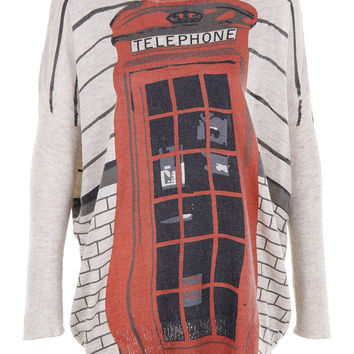 London telephone box booth top jumper knitwear oversized top shirt womens ladies cardigan