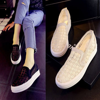 Summer Thick Crust Lace Permeable Shoes [4919114244]