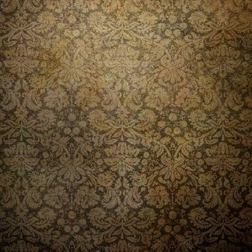 Printed Damask Moss Brown Backdrop Wallpaper Background - 7045