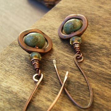 Copper Dangle Earrings, Green Picasso Czech Glass Earrings, Copper Artisan Ear Wires, Turquoise, Long, Rustic, Boho Chic Jewelry, Gift Idea