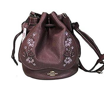 PETAL BAG IN PEBBLE LEATHER WITH FLORAL EMBROIDERY (COACH f11917)