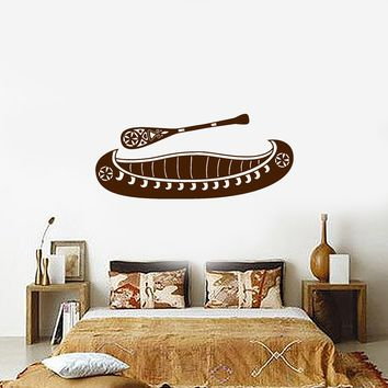 Vinyl Decal Canoe and Paddle Rustic Ethnic Style Decoration Wall Sticker Fishing and Hunting Decor Unique Gift (ig3221)