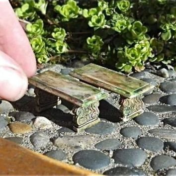 Tiny Mossy Stone Benches for Miniature Fairy Garden by Janit