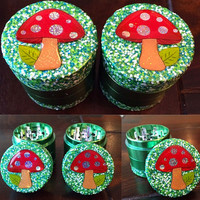 GRINDER -- MINIS Collection -- Green Glitter Magic Mushroom