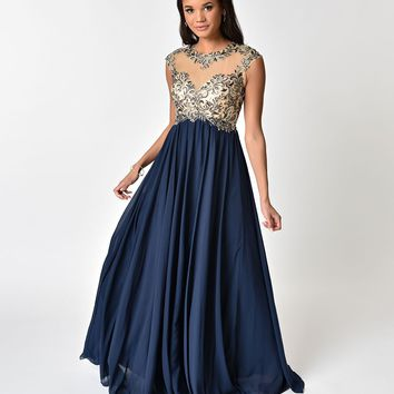 Navy Blue Chiffon & Beaded Illusion Neckline Long Dress