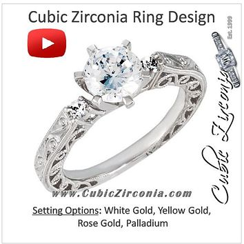 Cubic Zirconia Engagement Ring- The Shawna (Round w/ Twin Mini CZ Accents and Swirly-Pattern Hand-Engraved Band)