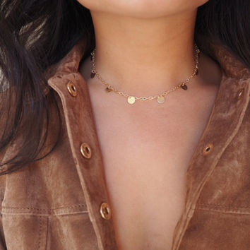 14k Gold Coin Dainty Choker Necklace