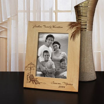 Vacation to Remember Picture Frame with Font Selection (Select Size and Frame Orientation)