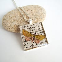 Vintage butterfly necklace, engraving retro french handwriting, large square silver statement pendant art nouveaux romantic nature jewelry