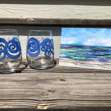 Beach Theme 3 Piece Gift Set : Card and Stemless Wine Glasses
