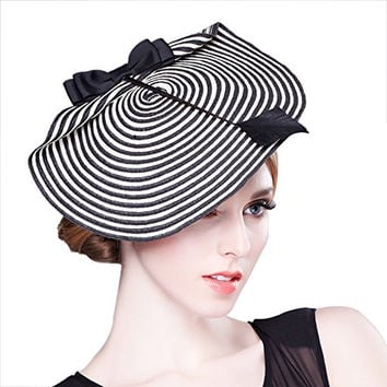 Daisiny Women's Stripe Fascinator Bailey Hat Banquet Head Wear