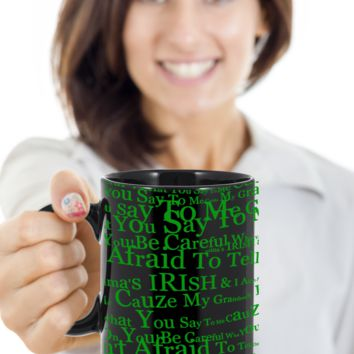 Irish Grandma Coffee Mug St. Patrick's Day Gifts For Her Him St Patrick Day Black Ceramic Cup For Tea, Coffee & Candy, Beer, Whiskey
