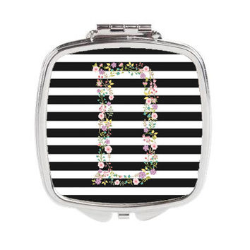Horizontal Lines and Garden Party Personalized Duel Compact Mirror or 3 inch Pocket Mirror