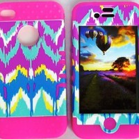 Cellphone Trendz (TM) Hybrid High Impact Bumper Case Tie-Dye Aztec Tribal / Pink Silicone for Apple iphone 4 iPhone 4s