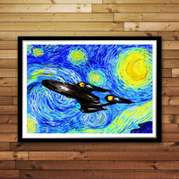 Star Trek - Starry Night Print, Reproduction of Vincent Van Gogh Starry Night, Star Trek Cotton Canvas Print, Star Trek Nursery Decor