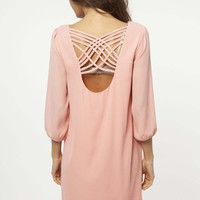 Solid Criss Cross Dress: Peach