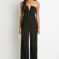 V-Notched Strapless Jumpsuit