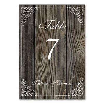 Elegant Swirl Old Wood Personalized Table Card
