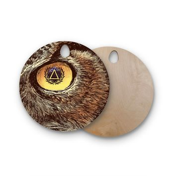 "BarmalisiRTB ""Sharp Eye"" Owl Round Wooden Cutting Board"