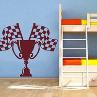 Wall Vinyl Sticker Decal Cup and Checkered Flags Nursery Room Nice Picture Decor Mural Hall Wall Ki760