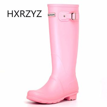 HXRZYZ knee high rain boots women candy colors buckle boots fashion female spring/autumn slip-resistant waterproof women shoes