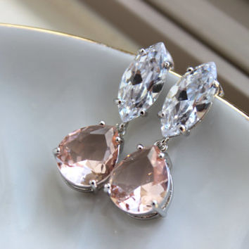Silver Crystal Champagne Blush Earrings Bridal Jewelry - Clear Bridal Earrings - Marquise Bridal Accessories Wedding Jewelry Bridesmaid Gift