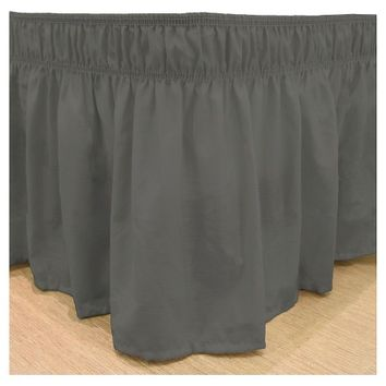 Wrap Around Solid Ruffled Bed Skirt (Twin/Full) Charcoal -EasyFit™