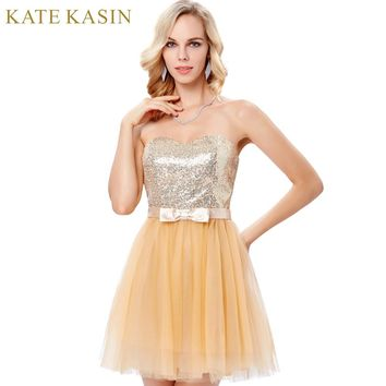 Elegant Apricot Pink Sequin Prom Dresses Strapless Tulle Homecoming Dresses Graduation Ball Gown Sparkly Short Prom Dress