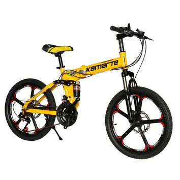 20inch folding mountain bike 21 speed Children's bicycle Two-disc brake Lady bike 5 knife wheel and Spoke wheel folding bicycle