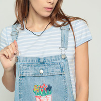 Shortalls Denim Overall Shorts Jean FLORAL Embroidery Romper Playsuit 90s Grunge Suspender Blue One Piece Woman 1990s Vintage Large