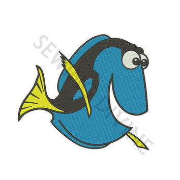 DORY BLUE FISH from Embroidery Design 4x4 5x7 6x10 Instant Download Fill Design Forgetful Fish