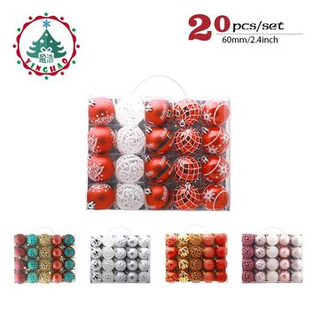 inhoo 20pcs/set Christmas Tree Ornament Balls plastic 6cm Xmas Baubles Accessories Christmas Decorations For Home Party Gift